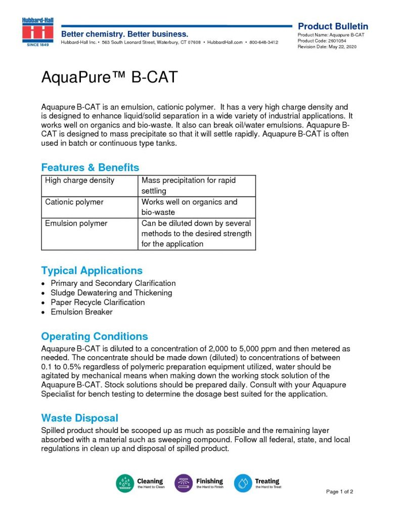 B Stock Solutions aquapure b-cat product bulletin | liquid cationic polymer