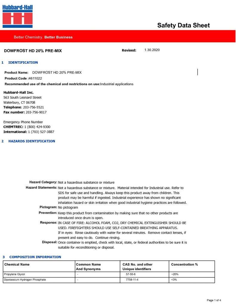 dowfrost HD 20 premix sds 4611022 pdf 791x1024