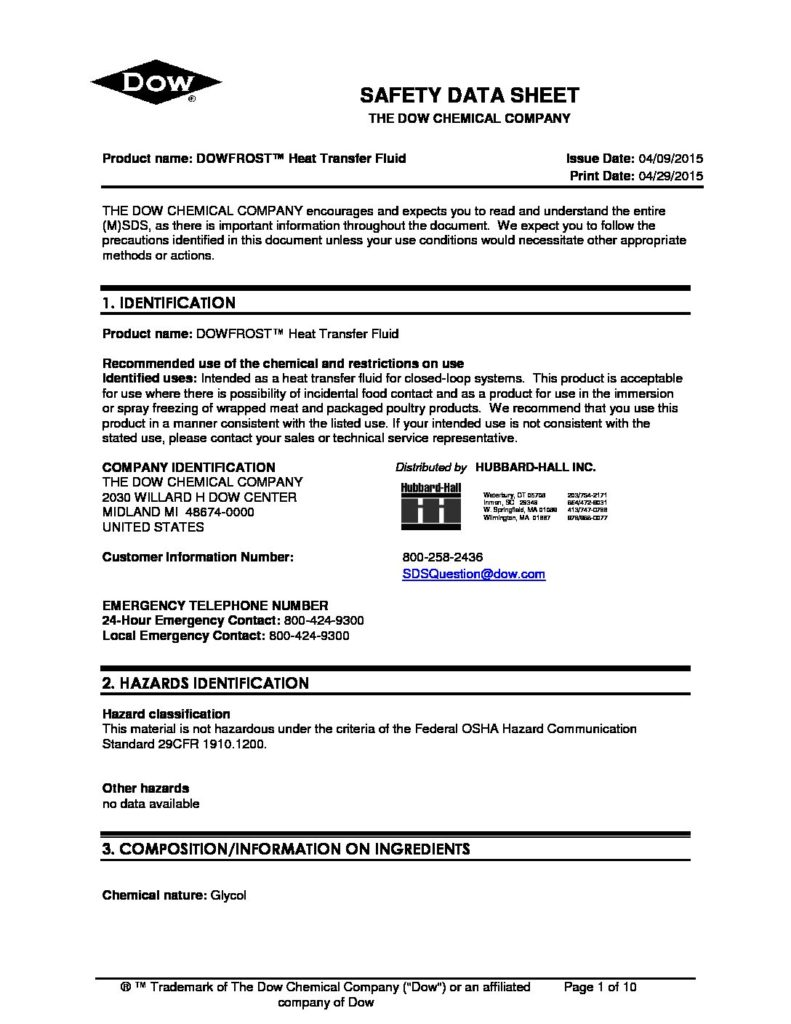 dowfrost safety data sheet pdf 791x1024