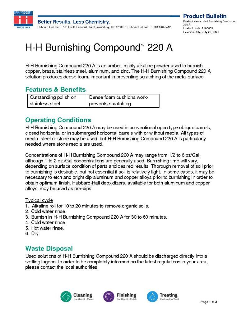 h h burnishing compound 220 a pb 2103033 pdf 791x1024