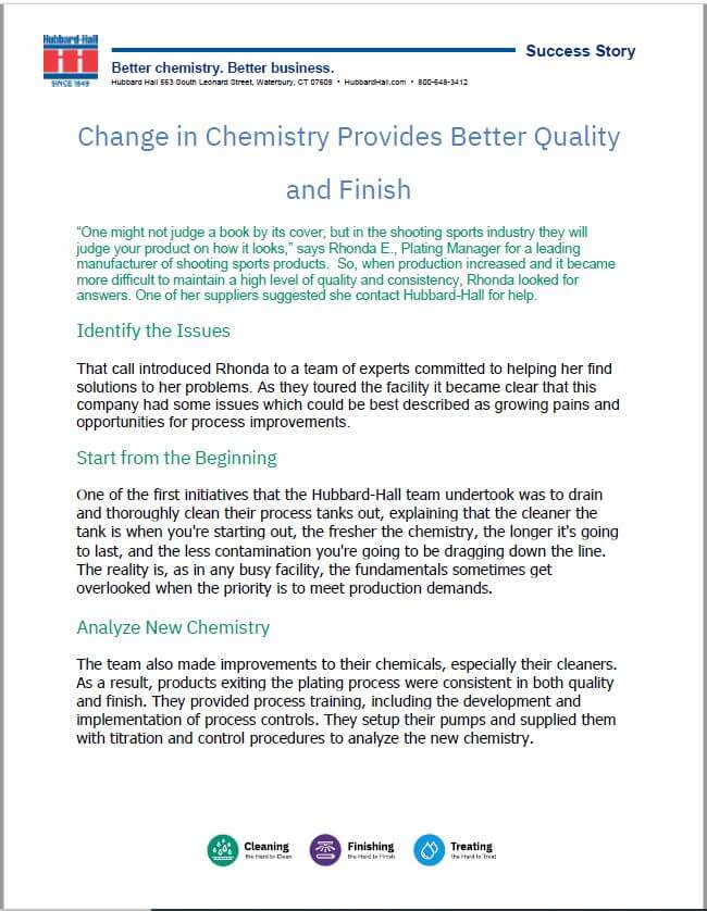 Change in Chemistry Provides Better Quality and Finish