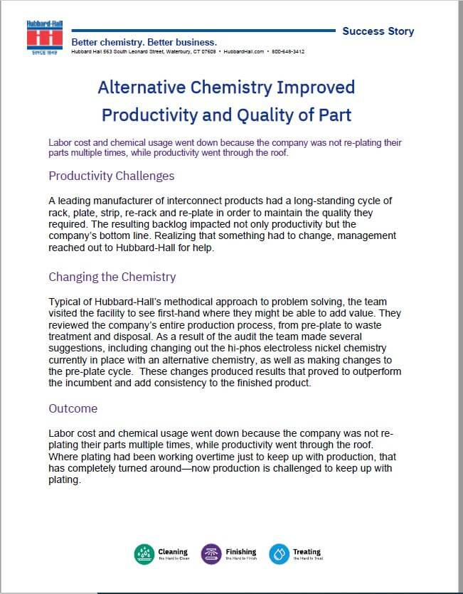 Alternative Chemistry Improved Productivity and Quality of Parts