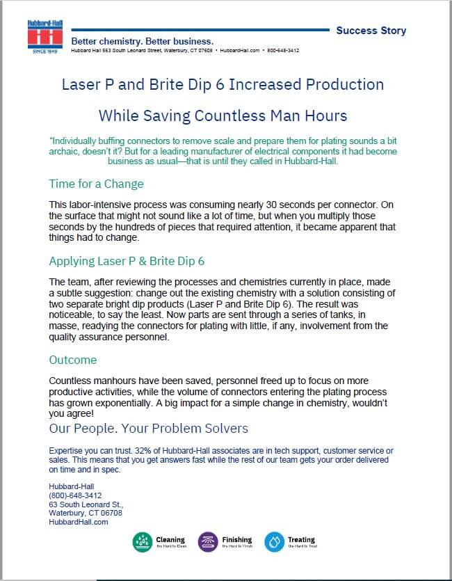 Laser P and Brite Dip 6 Increased Production While Saving Countless Man Hours
