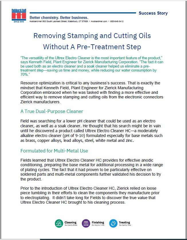 Removing Stamping and Cutting Oils Without A Pre-Treatment Step