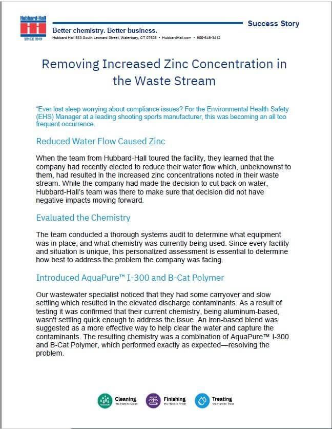 Removing Increased Zinc Concentration in the Waste Stream
