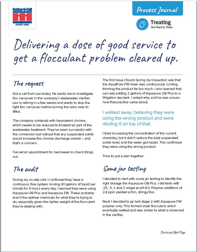 Delivering a Dose of Good Service to Get a Flocculant Problem Cleared Up