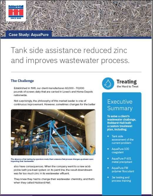 Tank side assistance reduced zinc and improves wastewater process