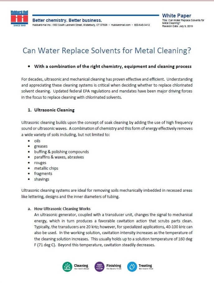 The More You Know: Can Water Replace Solvents for Metal Cleaning?
