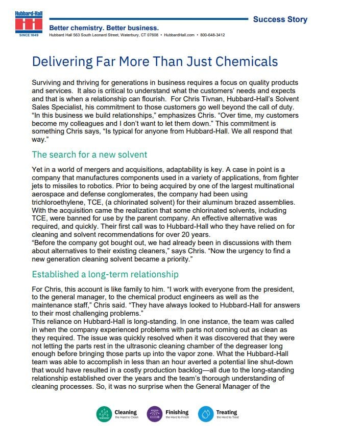 Delivering Far More Than Just Chemicals