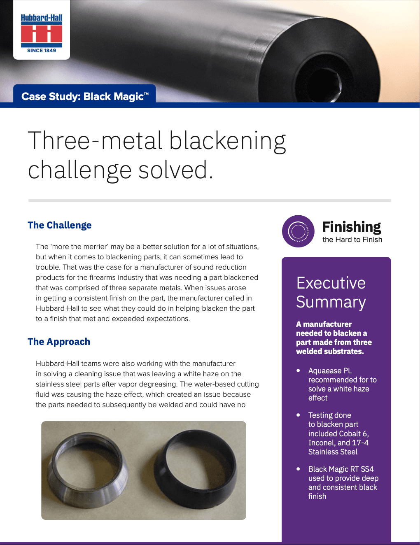 Three-Metal Blackening Challenge Solved